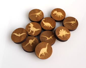 Charms | Jewelry Supplies | Craft Supplies | Laser Cut Wood | Custom Laser Cut Wood | Laser Engraved Wood | 8 Pieces Assorted Dinosaurs