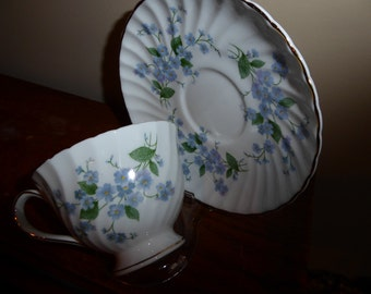 Vintage Ridgeway Potteries Royal Adderley  Forget Me Not Tea Cup and Saucer Footed Circa 1950's