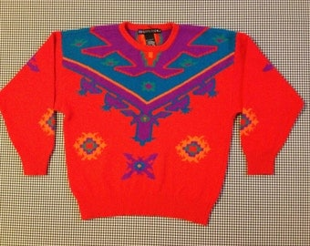 1990, fuzzy, lambswool and angora, tribal print sweater, Women's size Large