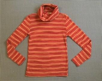 1970's, knit, cowl neck, top, in earthy, orangey, stripes, Women's size Medium