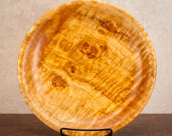 9.75 inch by 1.5 inch spalted, quilted, shallow maple burl bowl