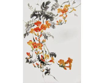 Japanese Ink Painting Japanese art Sumi-e Suibokuga Asian art Rice Paper painting 15x11 inches Trumpet Vine