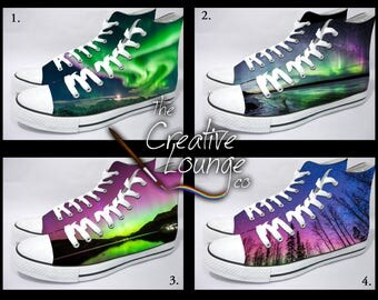 Custom Painted Northern Lights Shoes