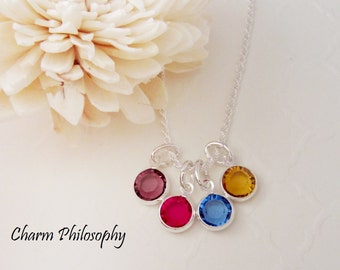 Birthstone Necklace - 4 Birthstones - Personalized Birthstone Jewelry - Mom of 4 - Sisters Necklace - Friendship Necklace