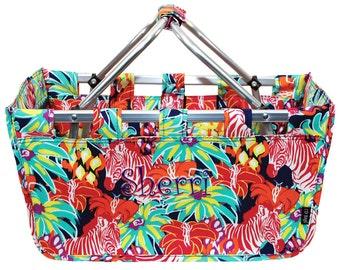 Monogrammed Zebra Market Tote | Personalized Floral Market Tote | Girls Floral Market Tote | Custom Floral Tote | Zebra Floral Market Tote