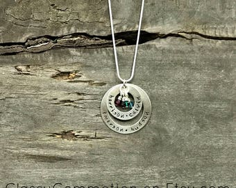 Double Washer Necklace - Hand Stamped Jewelry - Mother Necklace Grandma Necklace Nana Necklace Mimi Necklace Gigi Necklace Mothers Day