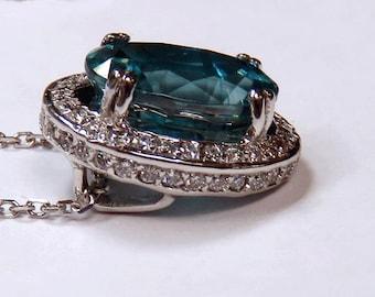 14K White Gold Genuine Blue Topaz Necklace