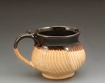 Handmade Pottery Mug Black and Tan Stoneware by Mark Hudak