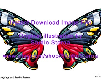 Drawing Fairy Wing fantasy butterfly moth design instant download image file outlines template stock colorin print cut make create dolls