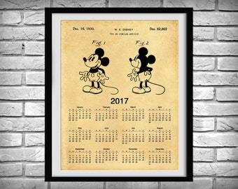 2017 Calendar - 1930 Mickey Mouse Patent Calendar - Patent Signed by Walt Disney - Nursery or Childrens Room Wall Art