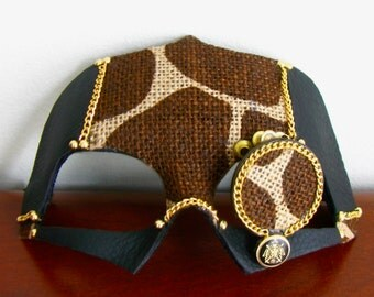 Steampunk Mask, Giraffe Print Mask, Black Leather, Monocle - Lamplighter