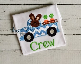 Personalized Bunny in Truck Easter Applique Shirt, boy, carrots, chevron, rabbit, monogram, wagon, boys easter shirt, easter truck shirt