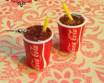 Coca Cola Miniature Iced Drink Earring Dangles handmade jewelry, iced soda miniature fake food jewelry, movie sodas