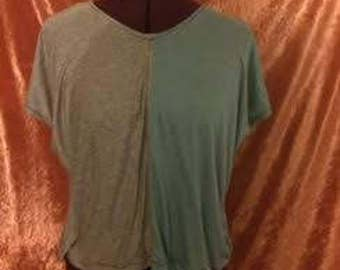 Gretchen Crop Top-Mint/Gray