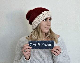 knit santa hat sparkle white yarn || kids sizes available ||