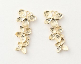 3436014 / 3 Linked Flower Set / 16k Matt Gold Plated Brass 17mm x 38mm / 3.3g / 2pcs