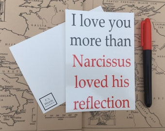 I Love You More Than Narcissus Loves His Reflection Greek Postcard Art Print Gift Tag Limited Stock
