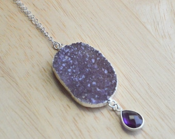 Purple Druzy and Amethyst Necklace- Druzy Necklace- Long Purple Druzy Necklace- February Birthstone Necklace
