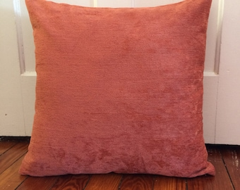SALE, Coral Chenille Pillow Cover, 20''x20'' Couch Pillow Cover, Coral Chenille Sofa Pillow Cover