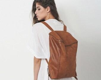 Sale, Brown Leather Backpack, Laptop Bag, Travel Bag, School Bag, Honey Brown Leather Bag, Handmade