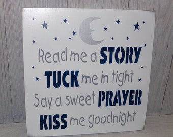 Read Me A Story Tuck Me In Tight Say A Sweet Prayer Kiss Me Goodnight, Navy Gray Nursery Decor, Boys Nursery Decor, Boys Nursery Art