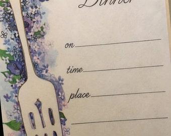 Vintage dinner invitations, vintage invitations, vintage stationary, lilac hedges