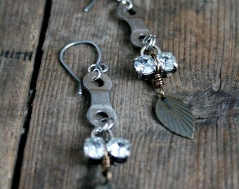 Bike Chain Earrings - Assemblage Earrings - Bike Jewelry - Rhinestones Earrings - Bicycle Earrings - Cycling Earring - Cyclist Jewelry - MTB