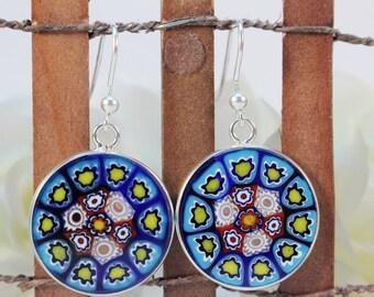 18mm Murano Millefiori Lampwork Glass Earrings 925 Italian Sterling Silver Blue Red Lemon*