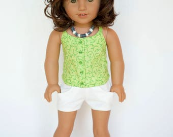 American girl doll sized endless summer halter top with buttons - green with green vines