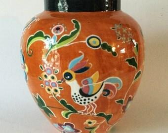 ANNA CACUK Art Pottery Vase Orange Stylized Birds & Flowers Ykpaiuchka Keramika