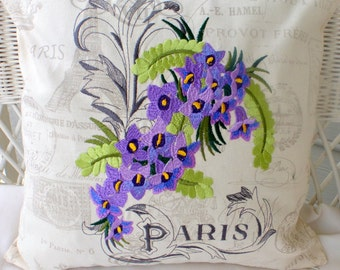 Embroidered Paris Pillow cover - Premier Prints French Stamp - Paris Pillow -  Eiffel Tower - 18x18  - French Country Decor