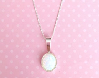 Opal Sterling Silver Necklace | October Birthstone Necklace | Oval Opal Necklace | Sterling Silver Box Chain | Opal Necklace | Opal Pendant