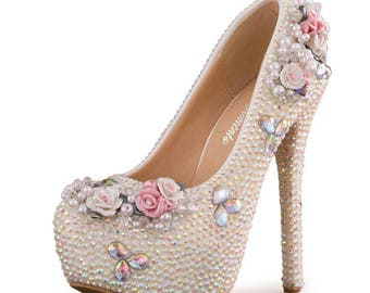 AB Wedding Bling Bride Rhinestone Custom Shoes
