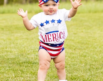 Baby Girls 4th Of July Outfit, 'Merica, My First Fourth of July, 4th of July Headband, 4th of July Leggings, Girls 4th of July Tshirt