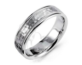 mens 10k white gold wedding bandswomens wedding ringshammered finish wedding bands
