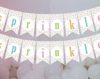 Printable DIY Pink or Blue Baby Sprinkle Banner Baby Shower Banner Sprinkle Theme Bunting Flags Decoration Instant Download