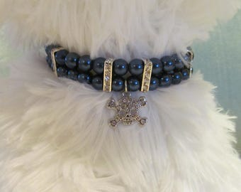 Dog/Cat Collar Necklace Navy Pearl with Charm, Skull Charm Collar, Dog Pearl Collar, Cat Pearl Collar, Dog Collar Bling, Pet Gift, Cat Bling
