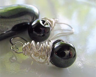 SALE!! Hematite Wire Wrap Dangle Earrings, Grounding Protection Stone for the Mind, Chakra Balancing