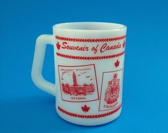 Canada Souvenir Federal Milk Glass Mug