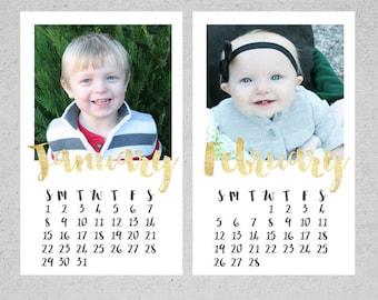 12 Month Custom Photo Calendar, Photo Calendar, Personalized Calendar, Calendar, Desk Calendar, Custom Desk Calendar - PERSONALIZED - 4.5x7