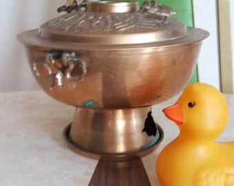 Vintage Brass Chinese Shabu Cooking Pot