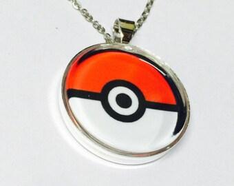 Pokemon Poke Ball Inspired Necklace or Keychain