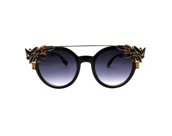 Retro Chic Round Sunglasses with Crystal Cluster Detail - Mystic