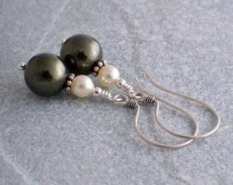 Dark green pearl earrings Swarovski pearl drop earrings UK seller dangle earrings dark green and cream