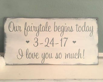 Our Fairytale begins today | Disney Wedding Sign | HERE comes the BRIDE | Fairytale Wedding Decor | Ring Bearer Sign | Flower Girl Sign,