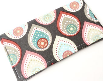 Fabric Checkbook Cover, Checkbook Holder, Checkbook Wallet, Coupon Holder, Organizer, Cute Checkbook- Grey Diamonds Gray Polka Dots