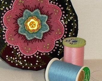 Handmade Felted Wool Pink & Blue Blossom Crazy Patchwork Pincushion