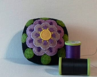 Handmade Pincushion Felted Wool Purple Flower on a Black Pincushion