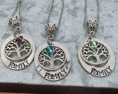 Hand stamped-Family-stainless steel necklace