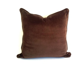 Brown Chocolate Velvet Throw Pillow Cover, Chocolate Velvet Cushion Cover, FREE SHIPPING